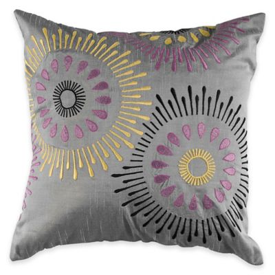 Rizzy Home Lique And Embroidered Square Throw Pillow In Silver Purple