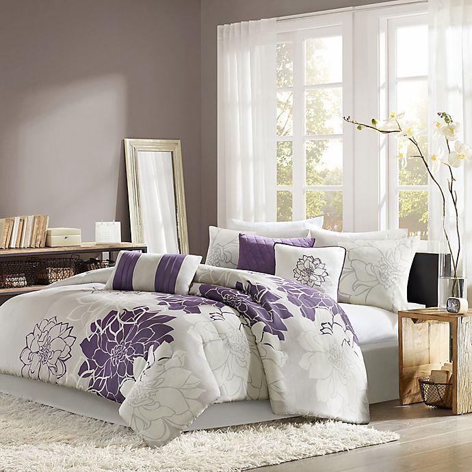 Alternate image 1 for Madison Park Lola 7-Piece Queen Comforter Set in Purple/Grey
