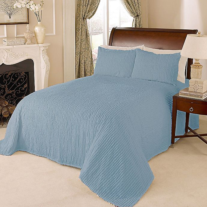 Alternate image 1 for Channel Chenille Queen Bedspread in Blue