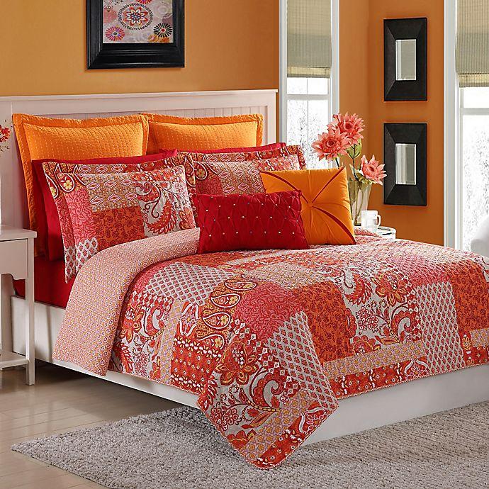Alternate image 1 for Fiesta® Marchia Reversible Full/Queen Quilt Set in Poppy
