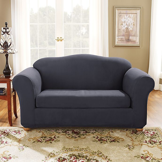 Alternate image 1 for Sure Fit® Stretch Suede Bench Seat Loveseat Slipcover in Storm Blue
