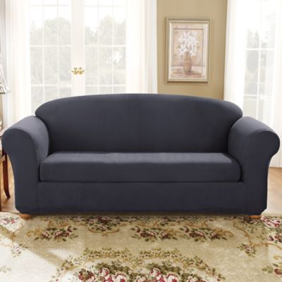 Awesome Sure Fit Stretch Suede Bench Seat Sofa Slipcover In Storm Blue Unemploymentrelief Wooden Chair Designs For Living Room Unemploymentrelieforg