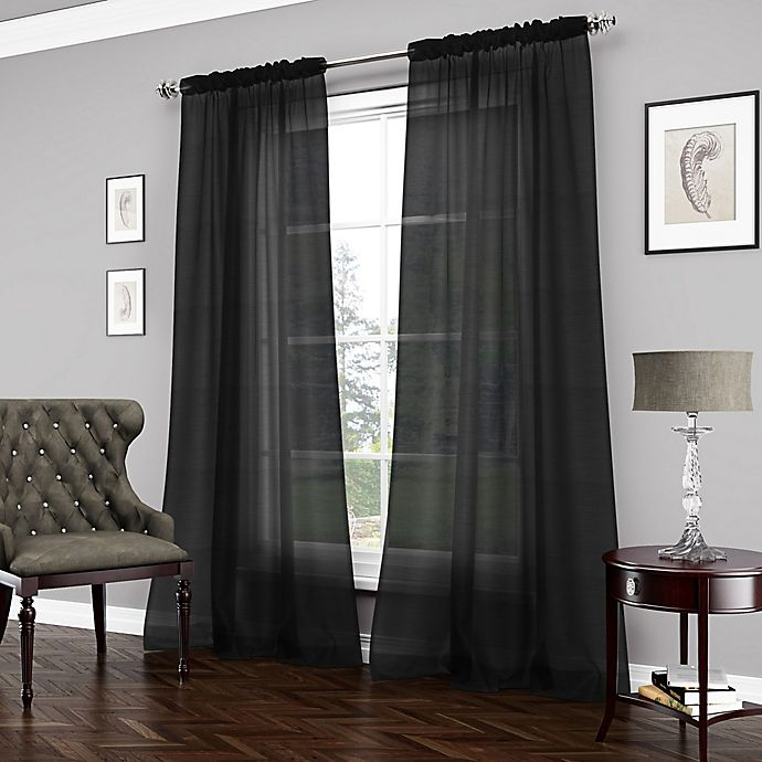 Alternate image 1 for Vue™ Carrington 95-Inch Sheer Window Curtain Panel in Black