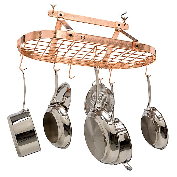 Enclume® Decor Classic Hammered Copper Oval Pot Rack   Bed ...