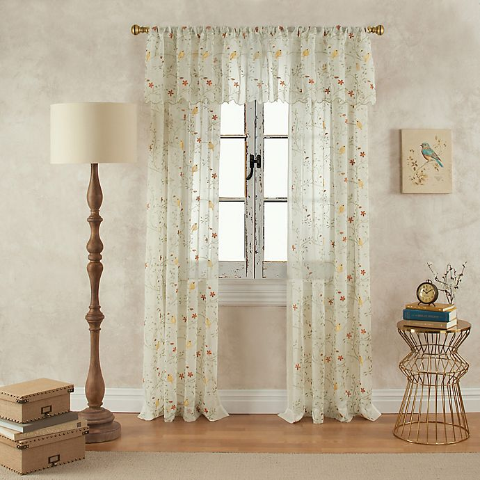 Alternate image 1 for Finch 108-Inch Rod Pocket Sheer Window Curtain Panel in Yellow/Green
