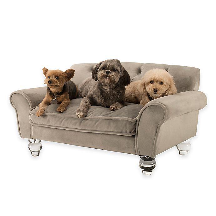 La Joie Velvet Pet Sofa In Grey Bed