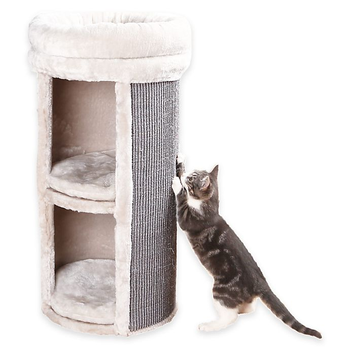 Alternate image 1 for Mexia 2-Story Cat Tower with 2 Hideaways in Grey Beige