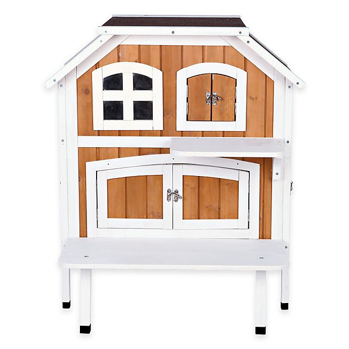 Alternate image 1 for Trixie Bartolo 2-Story Cat Cottage in Brown/White