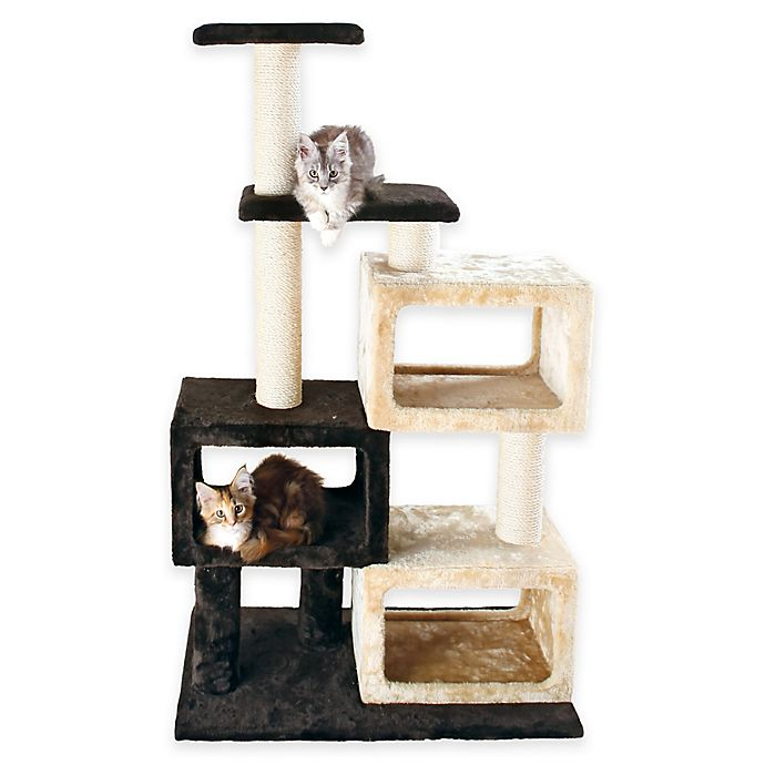 Alternate image 1 for Trixie Bartolo Cat Tree with 3 Condo Cubes in Brown/ Beige
