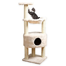 Baza Grande Cat Tower with Hideaway and Pedestal in Creme