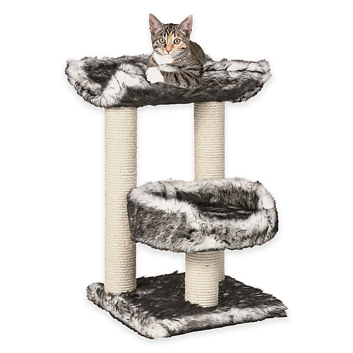 Alternate image 1 for Isaba Cat Tree With 2 Perches in Black and White Fur