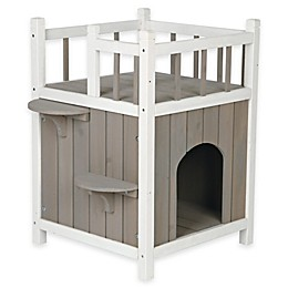 TRIXIE Wooden Pet Home with Balcony in Grey/White