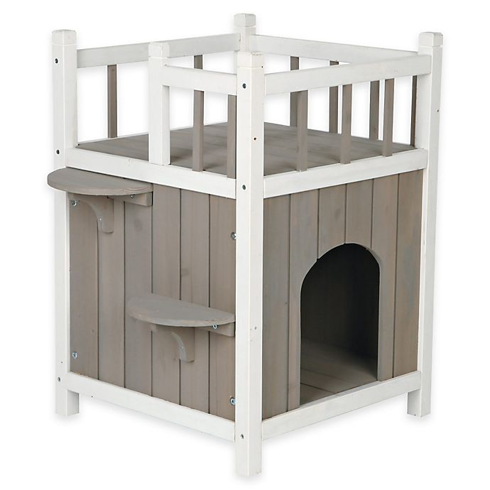 Alternate image 1 for TRIXIE Wooden Pet Home with Balcony in Grey/White