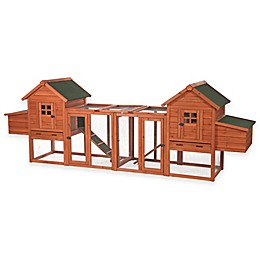 Dual Chicken Coop with Outdoor Run in Brown