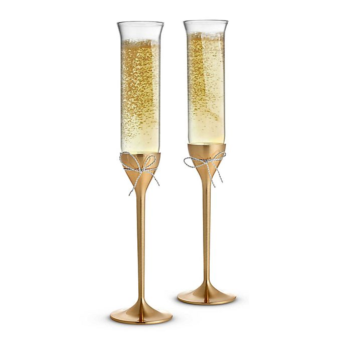 daeddb0ed5f1 Vera Wang Wedgwood® Love Knots Gold Toasting Flutes (Set of 2) | Bed ...