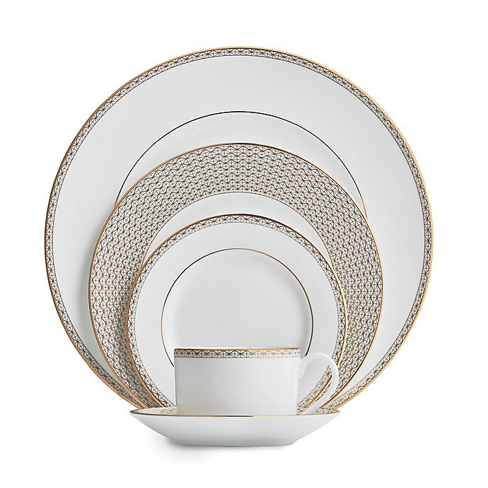 Alternate image 1 for Waterford® Lismore Diamond Gold 5-Piece Place Setting