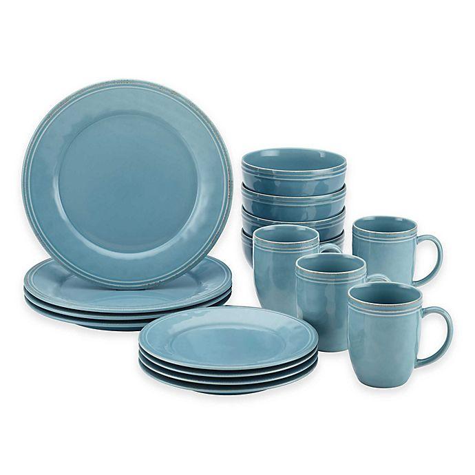 Alternate image 1 for Rachael Ray™  Cucina Stoneware 16-Piece Dinnerware Set in Blue
