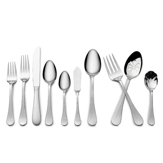 Alternate image 1 for Wallace® 45-Piece Hammered Flatware Set