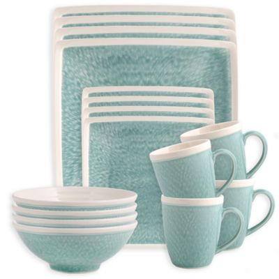 Sango Vega 16 Piece Dinnerware Set In Aqua Bed Bath Amp Beyond