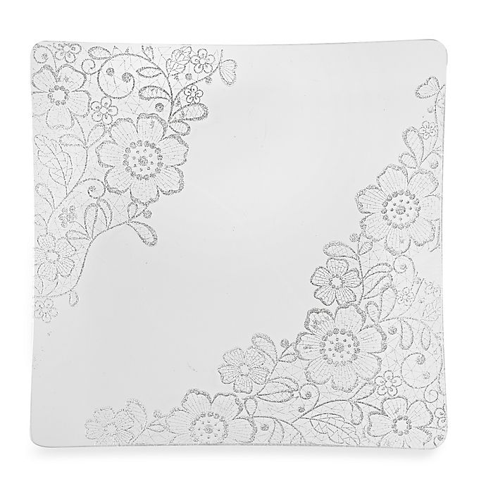 Alternate image 1 for Classic Touch Glittered Square Charger Plates in Silver (Set of 4)
