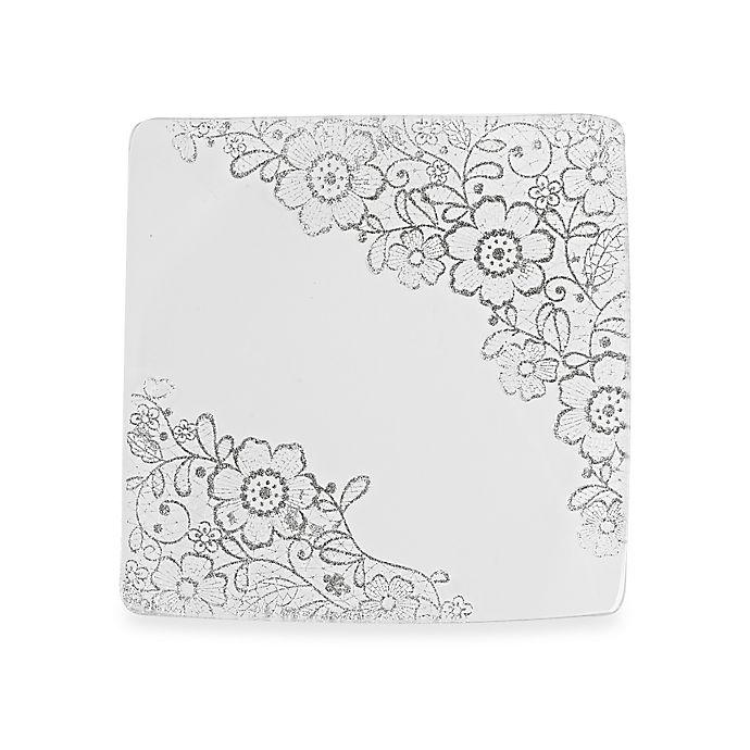 Alternate image 1 for Classic Touch Glittered Square Dessert Plates in Silver (Set of 4)