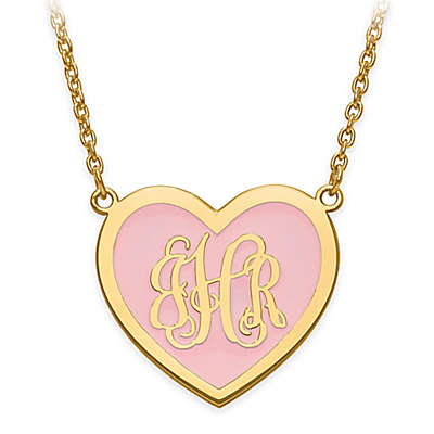 Sterling Silver or 14K Gold-Plated Script Letter 18-Inch Chain Enamel Small Heart Pendant Necklace
