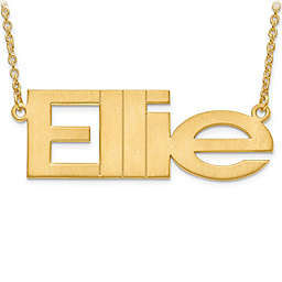 Sterling Silver or14K Gold-Plated Laser-Cut 18-Inch Chain Brushed Nameplate Pendant Necklace