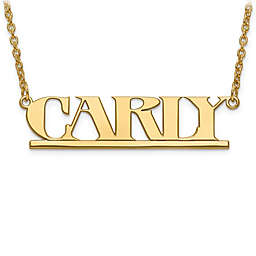 Sterling Silver or 14K Gold-Plated Laser-Cut Block Font 18-Inch Chain Nameplate Pendant Necklace