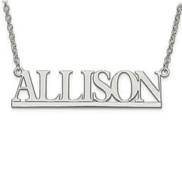 Sterling Silver or 14K Gold-Plated Laser-Cut Slim Block Letters Nameplate Pendant Necklace