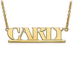 14K Gold Laser-Cut Block Font 18-Inch Chain Nameplate Pendant Necklace