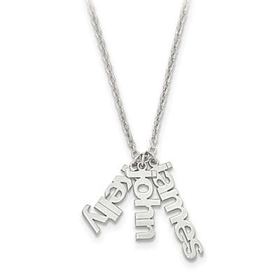 Sterling Silver and 14K Gold-Plated 18-Inch Chain Name Charms Trio Necklace
