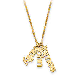 10K Gold 18-Inch Chain Name Charms Trio Necklace