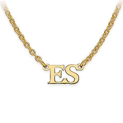 Sterling Silver or 14K Gold-Plated 18-Inch Chain Block Initials Pendant Necklace