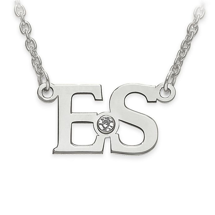 Alternate image 1 for Sterling Silver White Crystal 18-Inch Chain Block Initials Pendant Necklace