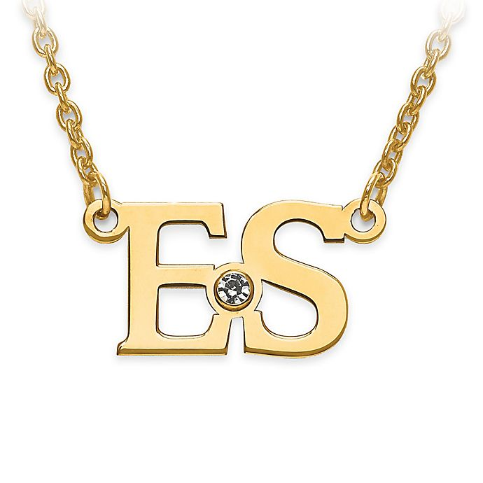Alternate image 1 for 10K Yellow Gold and White Crystal 18-Inch Chain Block Initials Pendant Necklace