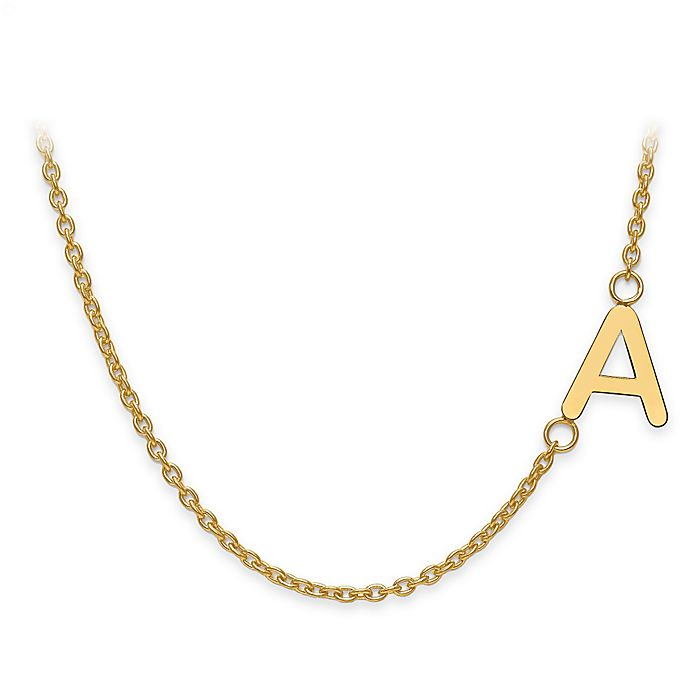 Alternate image 1 for Gold-Plated Sterling Silver Sideways Letter 18-Inch Chain Offset Necklace