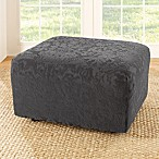 Sure Fit® Stretch Jacquard Damask Ottoman Slipcover in Grey