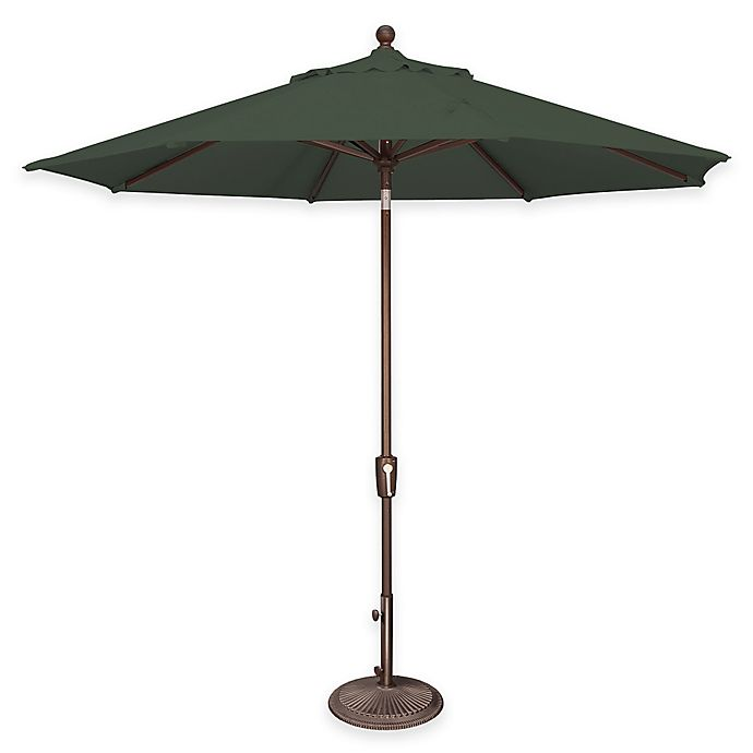 Alternate image 1 for SimplyShade Catalina 9-Foot Push Button Tilt Octagon Solefin Umbrella in Forest Green