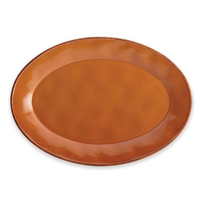 Alternate image 1 for Rachael Ray™ Cucina Stoneware Oval Platter in Orange