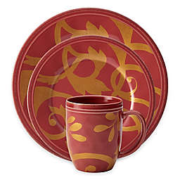 Rachael Ray™ Gold Scroll Dinnerware Collection in Cranberry
