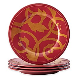 Rachael Ray™ Gold Scroll Appetizer Plates in Cranberry (Set of 4)
