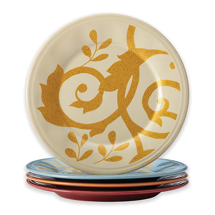 Alternate image 1 for Rachael Ray™ Gold Scroll Round Appetizer Plates (Set of 4)