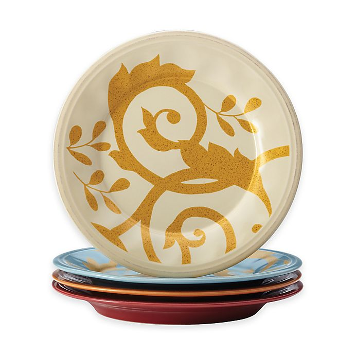 Alternate image 1 for Rachael Ray™ Gold Scroll Salad Plates (Set of 4)