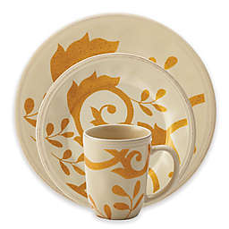 Rachael Ray™ Gold Scroll Dinnerware Collection in Almond Cream