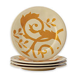 Rachael Ray™ Gold Scroll Appetizer Plates in Almond Cream (Set of 4)