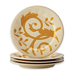 Rachael Ray™ Gold Scroll Salad Plates in Almond Cream (Set of 4)