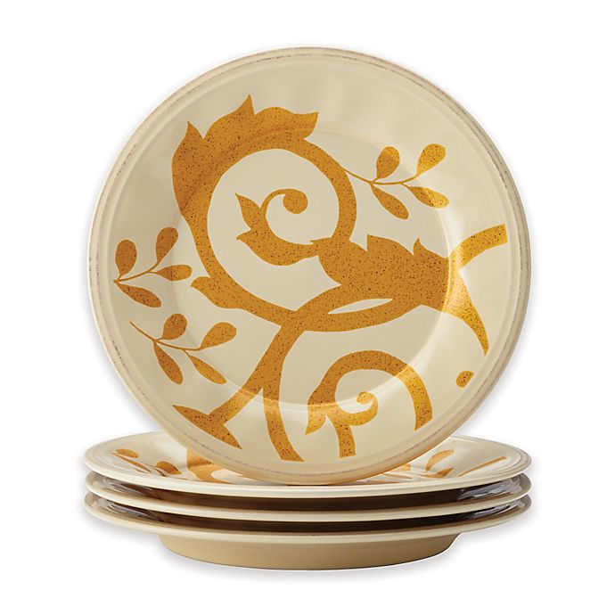 Alternate image 1 for Rachael Ray™ Gold Scroll Salad Plates in Almond Cream (Set of 4)