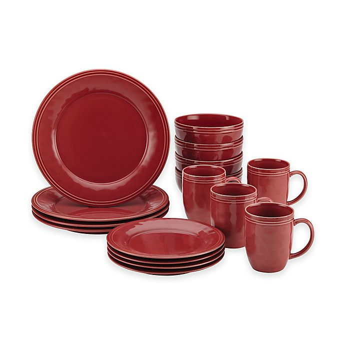 Alternate image 1 for Rachael Ray™  Cucina 16-Piece Dinnerware Set in Red