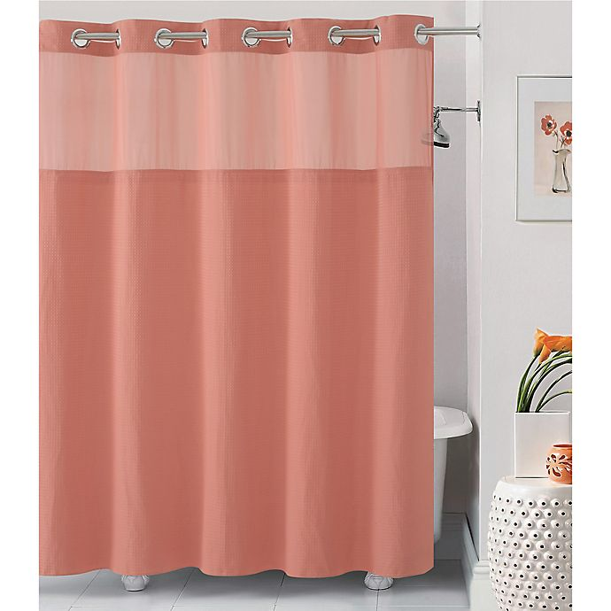 Alternate image 1 for Hookless® Waffle 71-Inch x 86-Inch Fabric Shower Curtain in Coral
