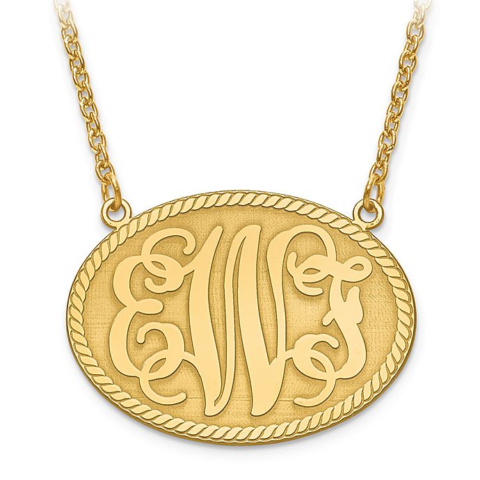 Alternate image 1 for 14K Yellow Gold 18-Inch Chain Elegant Letters Medium Oval Plate Pendant Necklace